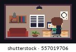 pixel art room with bookshelf ... | Shutterstock .eps vector #557019706