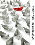 single red paper boat between... | Shutterstock . vector #55702018