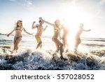 multi ethnic group of friends... | Shutterstock . vector #557028052