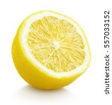 single half lemon citrus fruit...