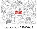 hand drawn set of sport doodles ... | Shutterstock .eps vector #557034412