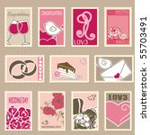 wedding postage stamps set | Shutterstock .eps vector #55703491