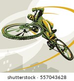 biking illustration. layered... | Shutterstock .eps vector #557043628