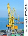 port cargo crane  train and... | Shutterstock . vector #557046256