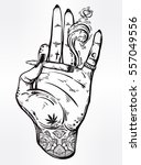 tattooed hand holding a weed... | Shutterstock .eps vector #557049556