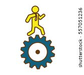 man and  gear wheel  icon over... | Shutterstock .eps vector #557051236