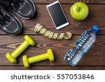 fitness background with sport... | Shutterstock . vector #557053846