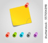 color pins and paperclip...   Shutterstock .eps vector #557054398