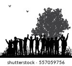 silhouette of children in... | Shutterstock .eps vector #557059756