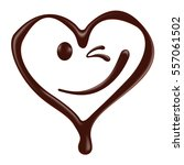 chocolate heart shape smiley... | Shutterstock .eps vector #557061502
