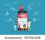 online reading news. young men... | Shutterstock .eps vector #557061658
