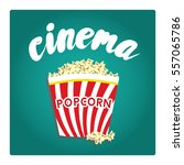 a bucket of popcorn in a flat... | Shutterstock .eps vector #557065786