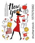 a young girl walks. new york....   Shutterstock .eps vector #557070382