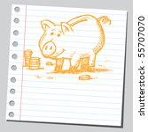 scribble piggy bank   Shutterstock .eps vector #55707070