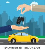 car seller hand giving key to... | Shutterstock .eps vector #557071705