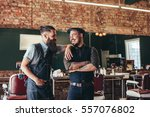 shot of happy barber with... | Shutterstock . vector #557076802