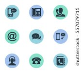 set of 9 simple connect icons.... | Shutterstock .eps vector #557079715