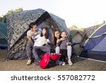 barbecue and family on camping... | Shutterstock . vector #557082772