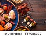 variety of mediterranean snacks ... | Shutterstock . vector #557086372