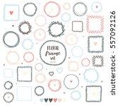 set of floral hand drawn round... | Shutterstock .eps vector #557092126