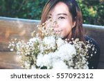 a beautiful asian woman and... | Shutterstock . vector #557092312