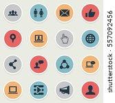 set of 16 simple social media... | Shutterstock . vector #557092456