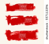 vector set of blood red brush... | Shutterstock .eps vector #557113396