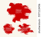 vector set of blood red brush... | Shutterstock .eps vector #557113456