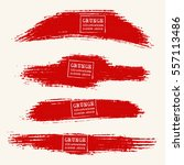 vector set of blood red brush... | Shutterstock .eps vector #557113486