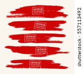 vector set of blood red brush... | Shutterstock .eps vector #557113492