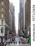 Small photo of New York, US, Dec 27: Manhattan, Library Way- street that begins from New York Public Library- West 41st St and Fifth Ave, crouds of tourists and local people