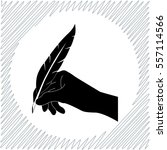 hand with feather vector icon   ... | Shutterstock .eps vector #557114566