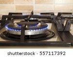 closeup shot of blue fire from... | Shutterstock . vector #557117392