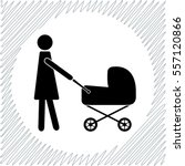 mother with baby carriage... | Shutterstock .eps vector #557120866