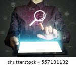 image of a girl with tablet in... | Shutterstock . vector #557131132