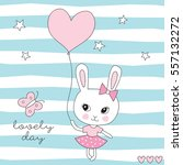 Cute Bunny With Balloon Vector...