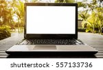 conceptual workspace  laptop... | Shutterstock . vector #557133736