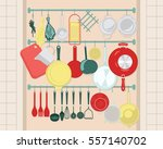 kitchen shelves with cooking... | Shutterstock .eps vector #557140702