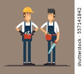 couple of construction workers... | Shutterstock .eps vector #557141842