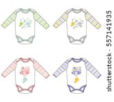 long sleeve baby bodysuits with ... | Shutterstock .eps vector #557141935