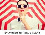 stylish beautiful woman wearing ... | Shutterstock . vector #557146645