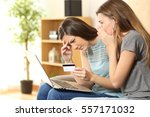 two worried roommates having... | Shutterstock . vector #557171032