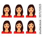young women faces isolated on... | Shutterstock .eps vector #557173525