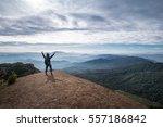 traveler standing on the top of ... | Shutterstock . vector #557186842