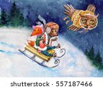 happy winter sledding.... | Shutterstock . vector #557187466