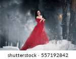 Woman Witch In Red Dress And...
