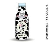 a bottle of milk and cow's...   Shutterstock .eps vector #557200876