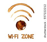 wi fi zone sign  by coffee... | Shutterstock . vector #557222212