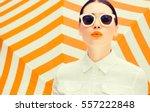 fashion portrait of a beautiful ... | Shutterstock . vector #557222848