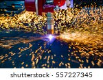 cnc laser plasma cutting of... | Shutterstock . vector #557227345